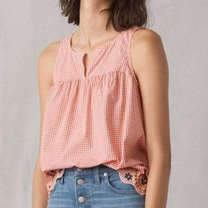 Madewell Gingham Embroidered Blouse